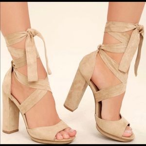 Shoes - Lulus Dorian Natural Swede Lace-UP Heels.